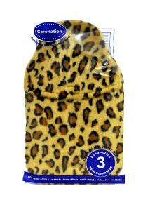 Hot Water Bottle with Animal Print Faux Fur Cover 2 Litre  giraffe print .