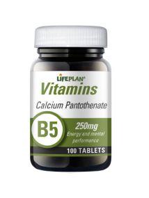 Lifeplan Calcium Pantothenate (Vitamin B5) 250mg 100 Tablets
