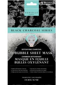 Danielle BLACK CHARCOAL SERIES Detoxifying Bamboo Charcoal O2 Bubble Sheet Mask 3 x 20g D76403