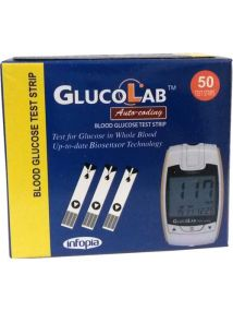 GlucoLab Auto-Coding blood glucose test strips, 50 strips. Biosensor technology