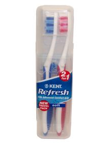 Kent Refresh Soft Toothbrushes 2 for 1 (assorted colours)