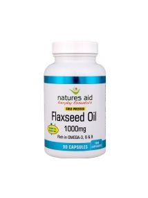 Natures Aid Flaxseed Oil 1000mg Rich in Omega 3, 6 and 9 Cold Pressed 135 Capsules