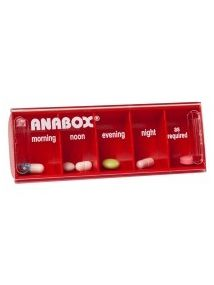 Anabox daily pillbox red colour