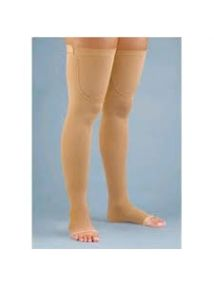 Altiform compression hosiery Class2 thigh length open toe beige large